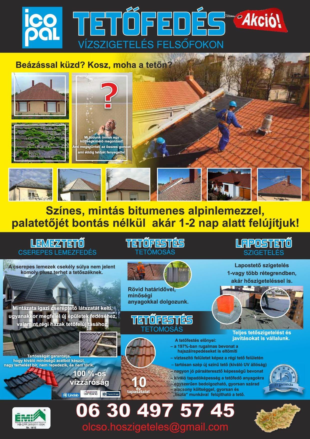 Tetőszigetelés, palatető felújítás